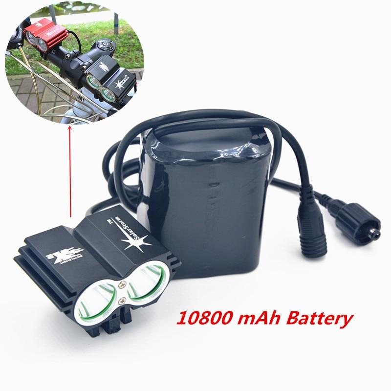 Цена за SolarStorm 2X XM L U2 LED 5000Lm LED Передняя Фара Велосипед Свет Фар с 10800 мАч Аккумулятор + Зарядное Устройство Бесплатная Доставка доставка