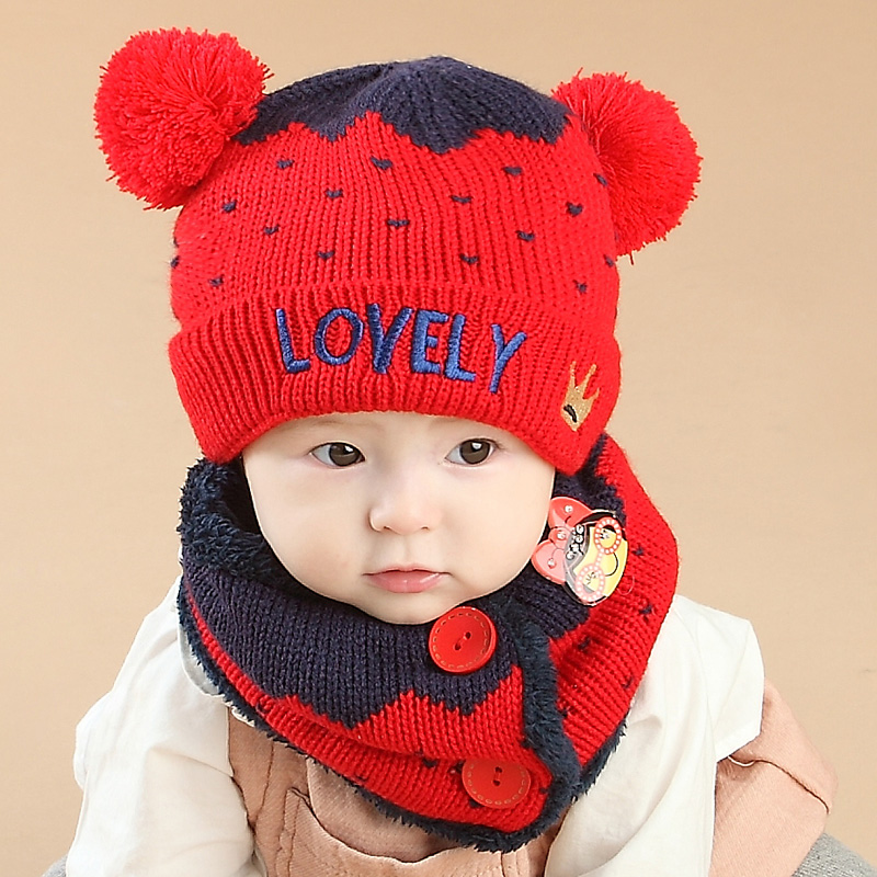 Cotton Baby Winter Hat and Scarf Set Warm Infant Beanie Cap for Children Boys Girls Crochet Knitted Shawl Hats+Scarf 2Pcs/Set