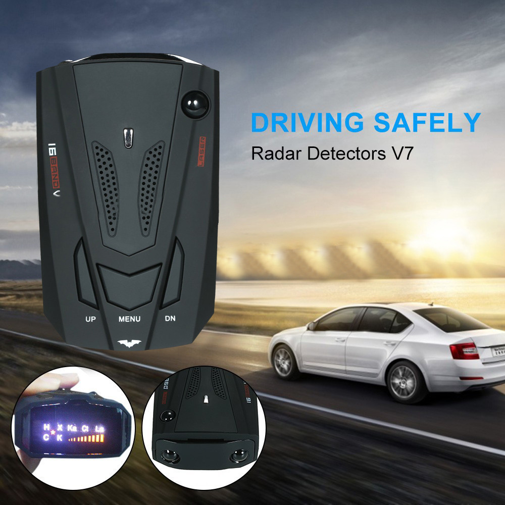 2019 Hot Sale For Car Electronics 16 Band V7 GPS Speed Police Safe Detector Voice Alert 360 Degree Anti Radar Dropshipping #z electronics