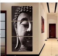 New 100% hand painted feng shui buddha face painting canvas oil wall art hangings human 3 piece Entrance cuadros decoracion room