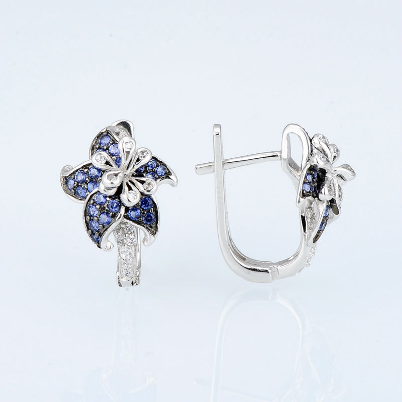 Image 4 - SANTUZZA Silver Earrings For Woman Pure 925 Sterling Silver Blue Star Flower Cubic Zirconia серьги женские Fashion Jewelry-in Stud Earrings from Jewelry & Accessories
