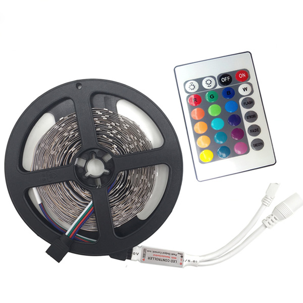 Hot 3528 RGB tape Cold White Warm white Blue Red Green color LED strip lights 5M 300 SMD diode 12V tiras led, RGB Remote Control