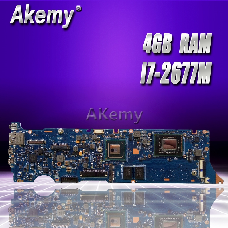 Akemy UX31E Laptop Motherboard For ASUS UX31E UX31 Test Original Mainboard 4G RAM I7-2677M