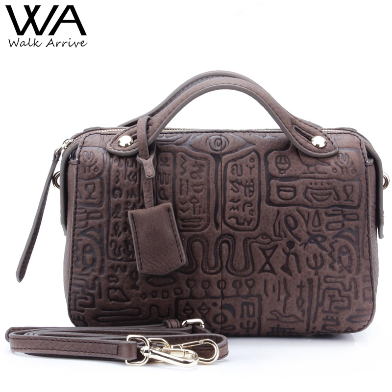 Walk Arrive Genuine Leather Women Shoulder Bag Small Handbag Oracle Design Embossed Leather Tote Bag Fashion Purse