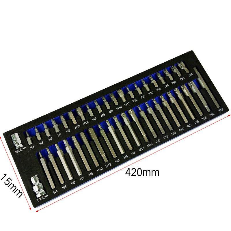 43 pcs Socket Set Kit di Strumenti di Riparazione Esagonale Torx Punto 12 Spline Cacciavite bit Set Automobili Strumento di Kit Per Auto - 2