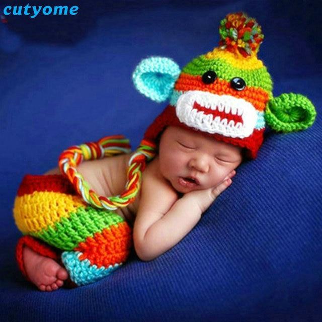 637e05d4bb9 Gorras Cutyome Newborn Photography Props 2017 Summer Handmade Crochet  Cotton Monkey Costume Knitted Fotografia Hat+pants Sets
