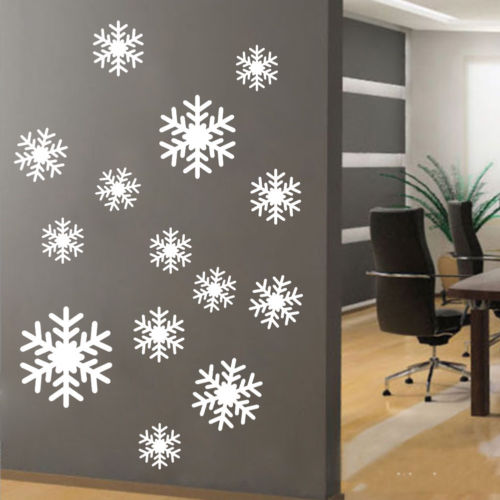 snowflakes wall window art vinyl decal sticker mural holiday winter party decor in wall stickers. Black Bedroom Furniture Sets. Home Design Ideas