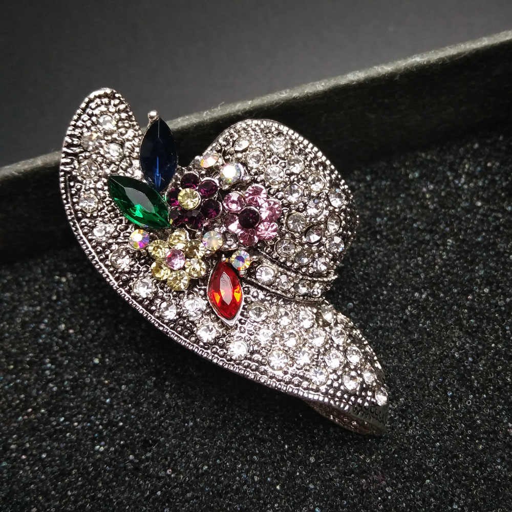 Cindy Xiang 2 Warna Topi Besar Rhinestone Bros Vintage Bunga Pin dan Bros Antik Fashion Perhiasan Syal Gesper Perhiasan