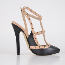 Fashion and Elegant Faux Leather Women's Stiletto Pointed Toe Sandals with Rivet chaussure femme With Buckle Solid Cover Heels