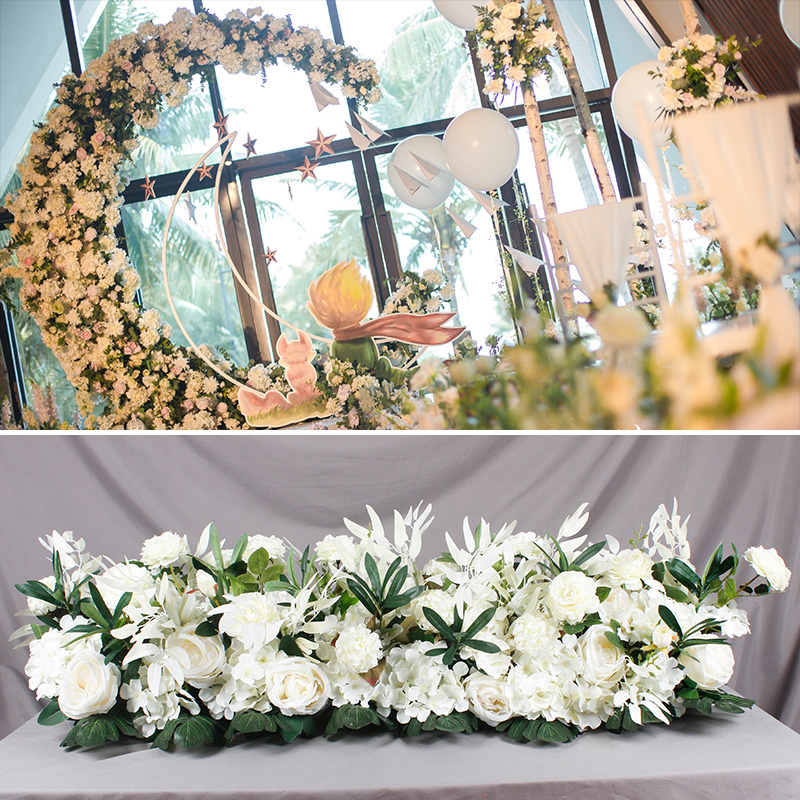 Simulation Rose Flower Wivid Leaves Wedding Road Introduction Arch Flowers Decoration Pre function Area Flower Wall Stage la