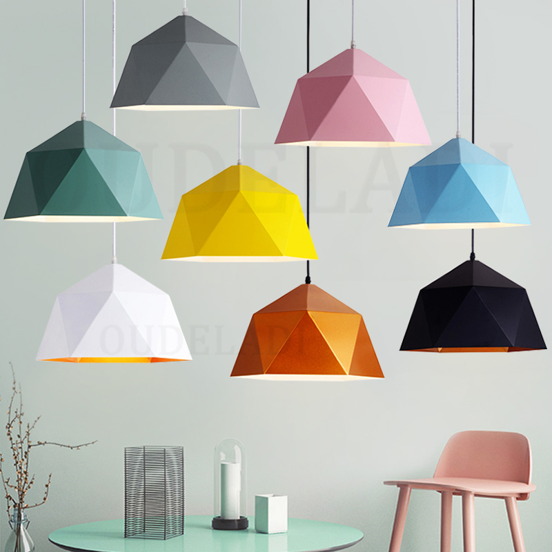 Nordic Wrought Iron Macarons Pendant Lights Single-headed Polygonal Diamond E27 Personalized Restaurant Home Lighting