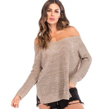 Sexy Off Shoulder Pullover Sweaters New Autumn Women Solid Khaki Long Sleeve Sweater Female Slash Neck Loose Sweaters цена