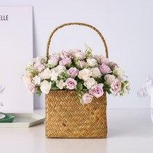 Nordic 10 Heads Spring Roses Artificial Flower Bouquet Plastic Plantas Artificiales Para Decoracion for Home Wedding Celebration