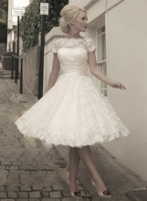 Free Shipping 2014 Hottest Style Ball Gown Short Sleeve Lace Tea Length Wedding Dress With Sash