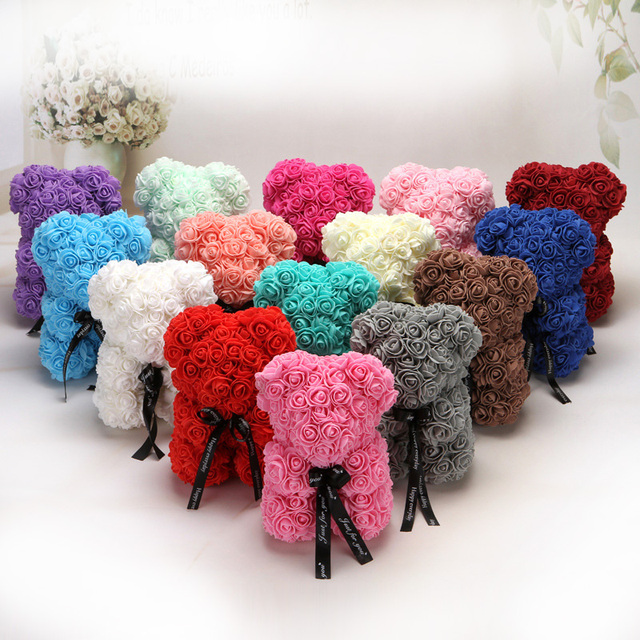 25cm Rose Bear PE Foam Rose Flower Artificial Christmas Gifts for Women Girlfriend Kid Gift Plush Bear