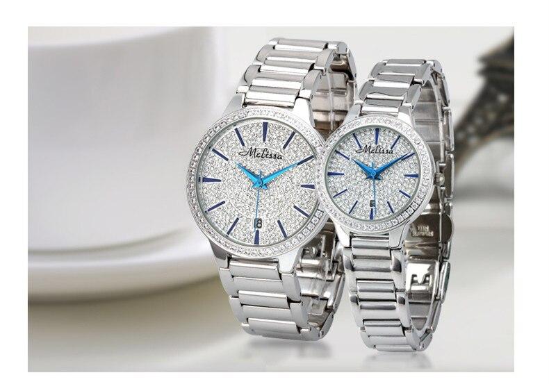 Простые Модные часы для влюбленных с полными кристаллами, классические дизайнерские часы для деловых пар, Стальные наручные часы с календарем, женские часы F8157