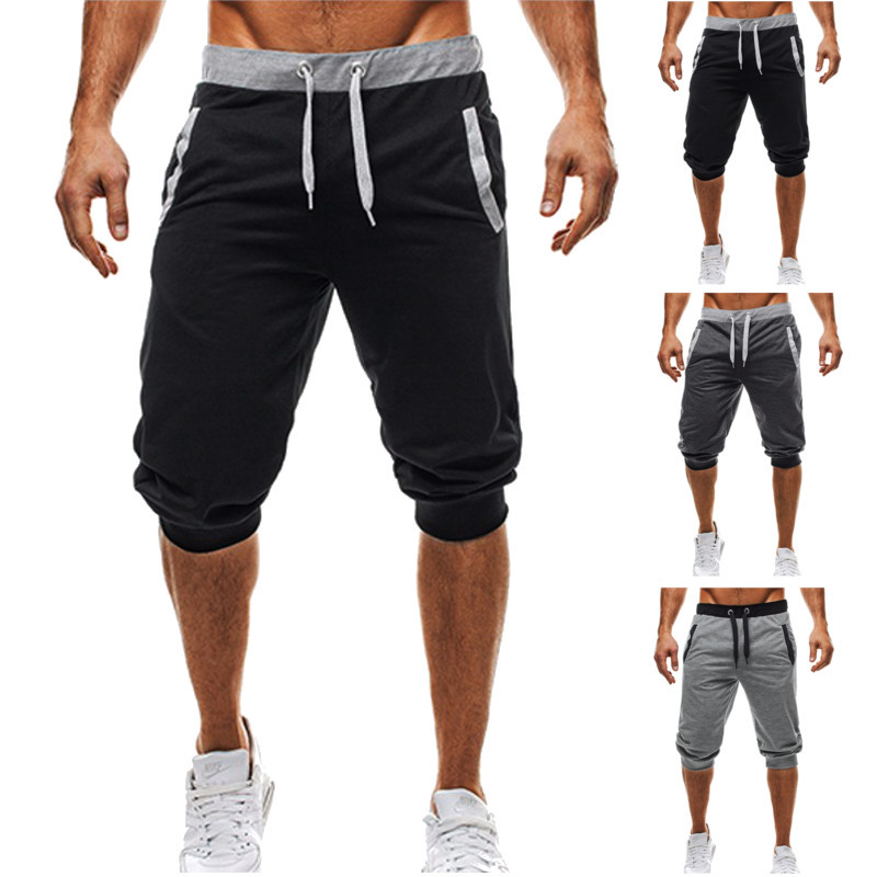 BBYES Summer Men Casual Sweatpants Shorts 3/4 Trousers Short Fitness Clothing Bodybuilding Men Shorts Summer Men Clothing