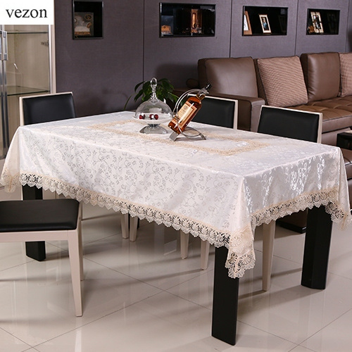 New Hot <font><b>Elegant</b></font> Lace Tablecloths Beige Jacquard Europe Lace Table Cloth Towel Overlays <font><b>Home</b></font> <font><b>Decor</b></font> Textiles 071-2