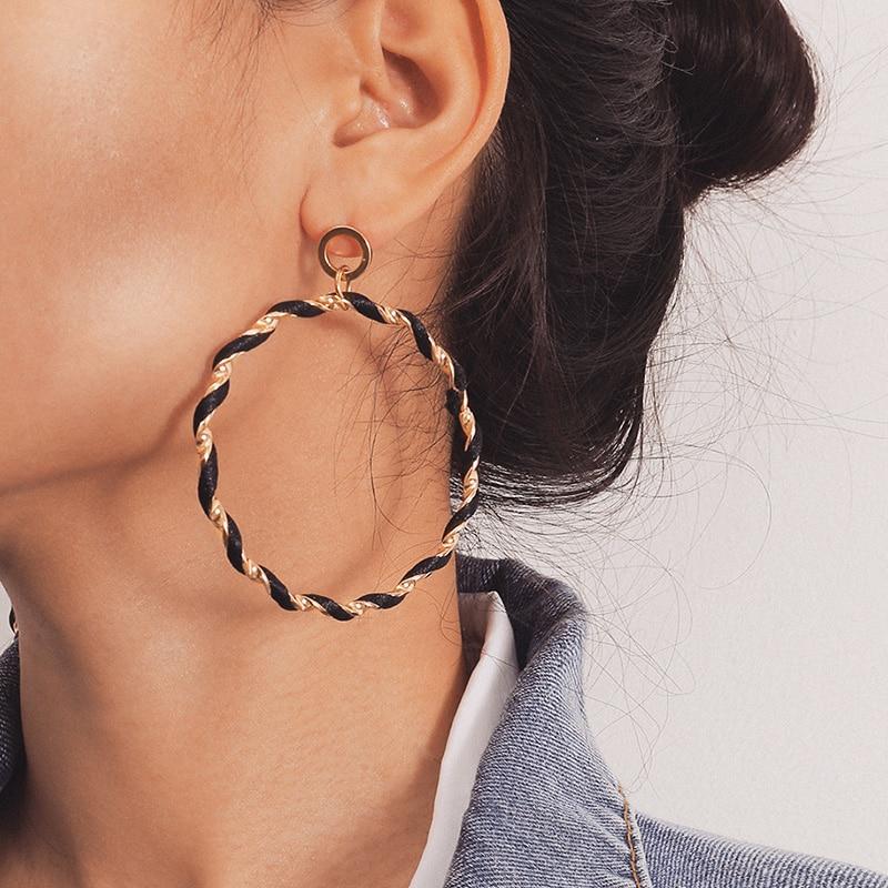 Fashion Women Matte Geometric Twisted Big Hoop Circle Earrings Jewelry Utility