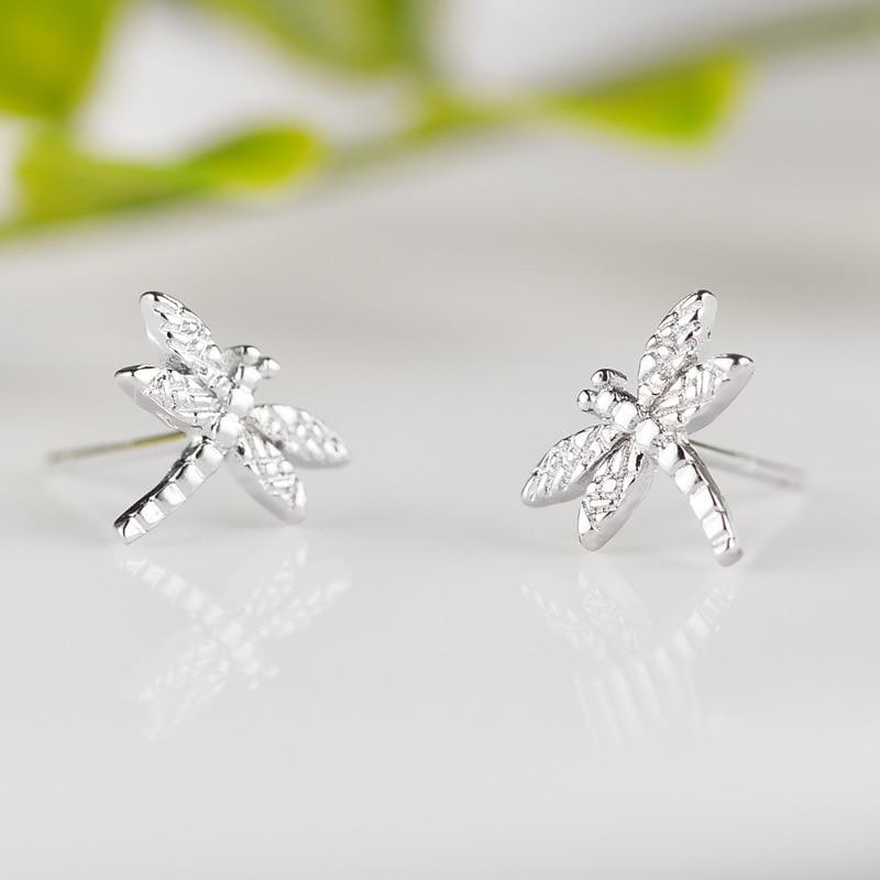 100% Стерлинговое Серебро 925 пробы, гипоаллергенные серьги-гвоздики стрекозы для женщин, модные ювелирные изделия для девушек