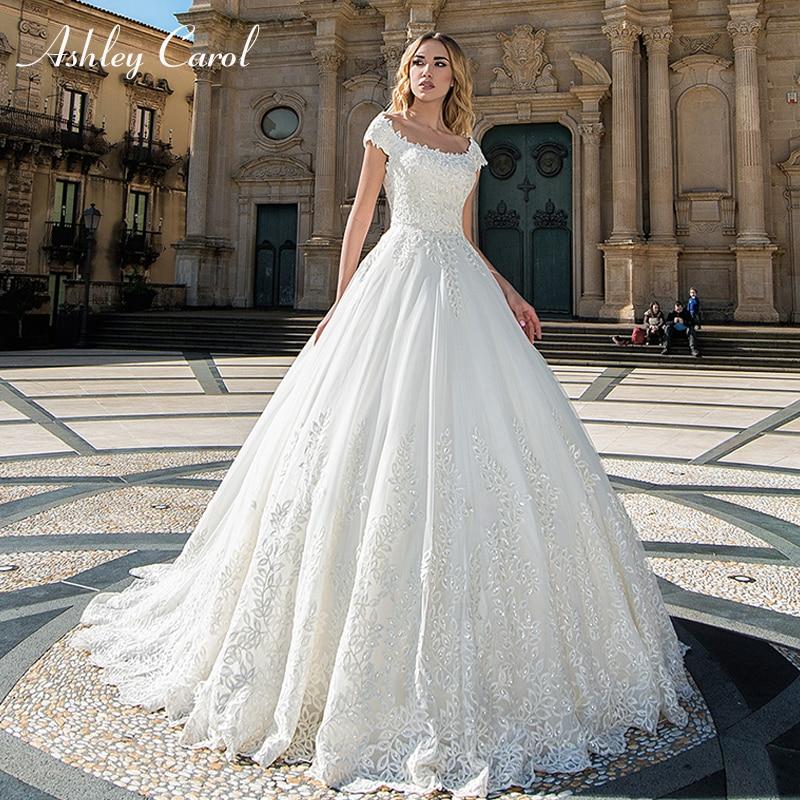 Carol Ashley Moda Colher Curto de Tule Vestidos de Casamento 2019 Lace Up Tribunal Trem Vestido de Noiva Palácio Do Vintage Vestidos de Casamento Simples