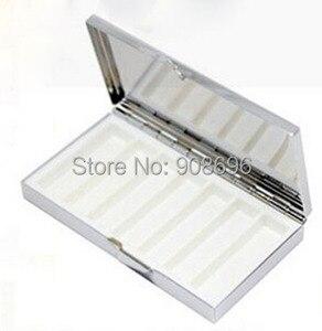 Image 2 - Venta al por mayor 100 piezas en blanco rectángulo píldora cajas de Metal píldora contenedor 7 redes Mini de viaje portátil caso. DHL envío gratis