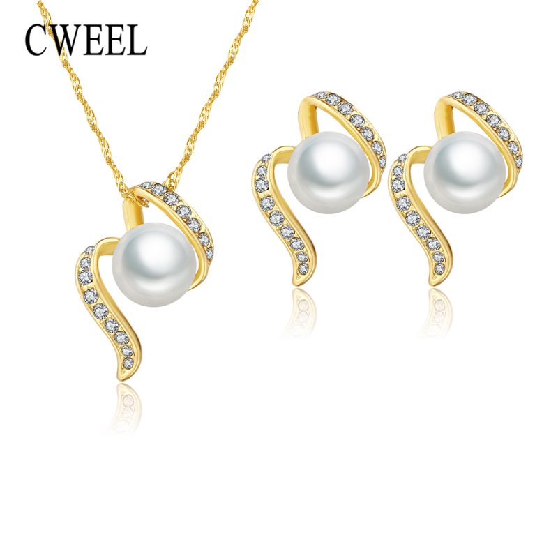 CWEEL Bridal Jewelry Sets For Women African Beads Jewelry Set Wedding Imitation Pearl Crystal Dubai Costume Necklace Earrings