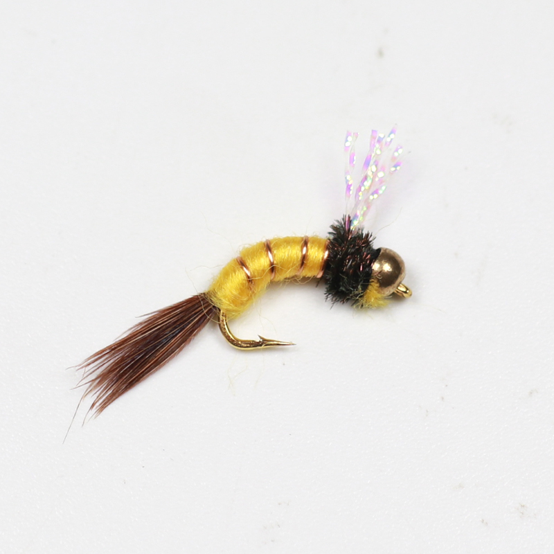 8PCS 14# Brass Beadhead Emerger Nymph flies Fly Fishing Baits Buzzers Trout Lures Dry Fly Fishing Trout Flies [12pcs] 12 caddis larva chironomid midge pupa buzzer zebra nymph trout flies fly fishing hook black red orange