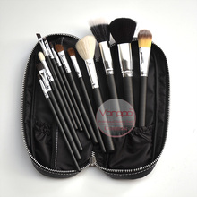 Free Shipping New Brand Makeup Brushes 12Pcs Natural Hair Cosmetics Set with PU Leather Bag High Quality Make Up Brush Set