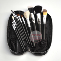 Free Shipping New Brand Makeup Brushes 12Pcs Natural Hair Cosmetics Set With PU Leather Bag High