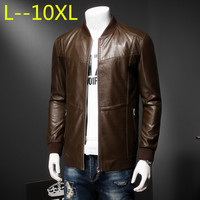 Men genuine leather jacket sheepskin 2018 new spring and autumn handsome slim zipper male motorcycle leather jacket 10XL 8XL 6XL