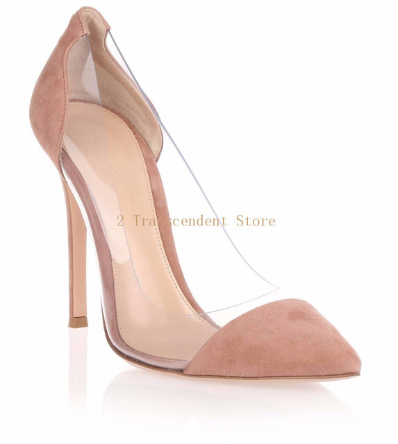 Clear PVC Flock Patchwork High Heels Pumps Pointed Toe Dress Stiletto  Shallow Slip On Shoes Elegant