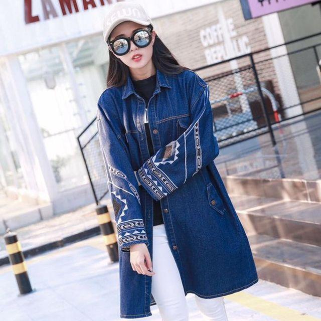 Мода вышивка джинсовая куртка женщин осень зима долго однобортный джинсовые Основные пальто lady Vintage Повседневная джинсы и пиджаки 6251