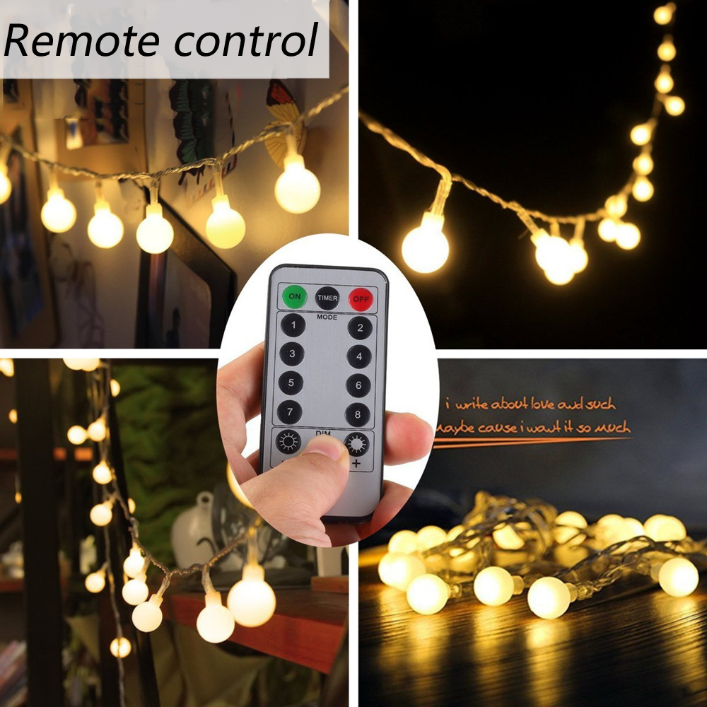 50 LED Ball String Lights Globe String Lights With Clear Bulb Backyard Patio Lights Vintage Bulbs Decorative Outdoor Garland