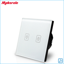 Remote Touch Switch EU Standard 2 Gang 1 way RF Remote Control Light Switch White Crystal Glass Panel