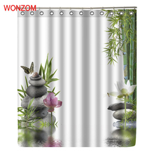 WONZOM Bamboo Stone Modern Lotus Polyester Waterproof Shower Curtains For Bathroom Fabric Serenity Bath Curtain With Hooks Gift