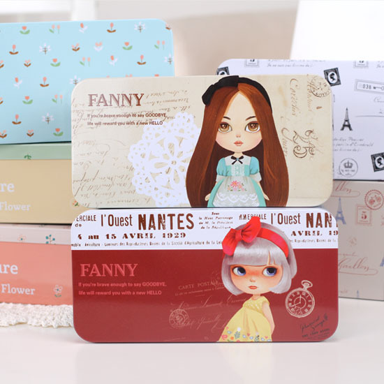 Small angel zimu fresh flower stationery box pencil case storage tin