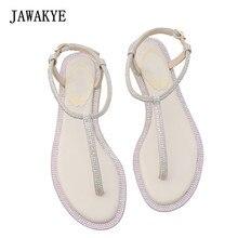 633e1e5f36e81b JAWAKYE Simple fashion Diamond Flat sandals Women Flip Flops Crystal Ankle  Strap Cool Clear Beach Shoes