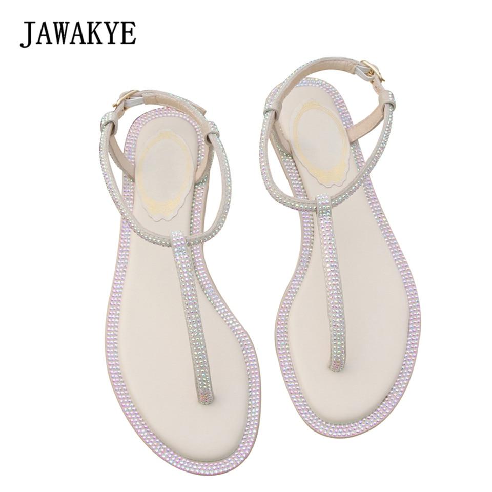 JAWAKYEแฟชั่นที่เรียบง่ายเพชรแบนรองเท้าผู้หญิงรองเท้าแตะรองเท้าคริสตัลสายคล้องข้อเท้าเย็นล้างชายหาดรองเท้าฤดูร้อนG Ladiatorรองเท้าแตะ-ใน รองเท้าแตะสตรี จาก รองเท้า บน   1