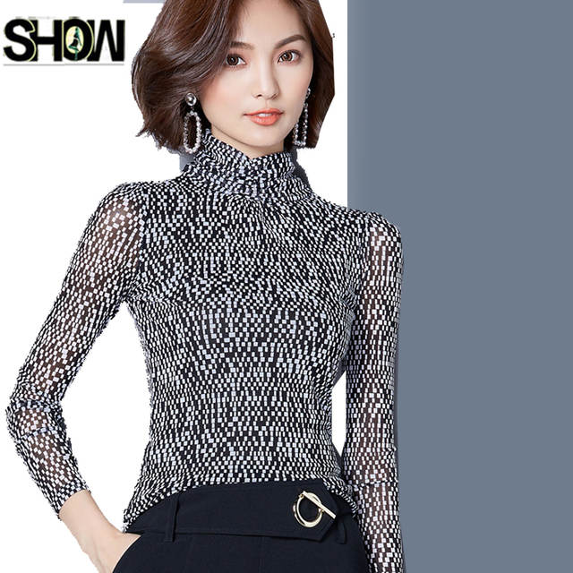 bd8c8727ba21db Online Shop Female Design Tops Temperament Women Autumn Winter Basic Shirts  Elegant Ladies Mesh Office Formal Work Turtleneck Blouse 8301