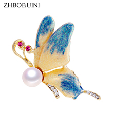 Butterfly Brooch Jewelry Pins Freshwater Natural ZHBORUINI Women Real Pearl for Gift