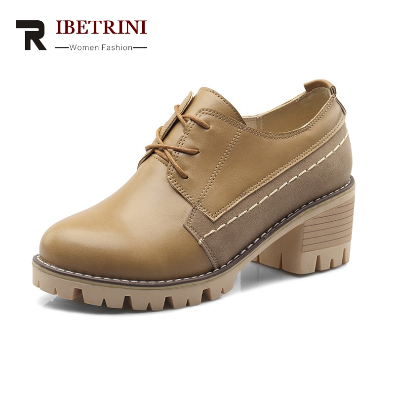 RIBETRINI Women's Square Heels Round Toe Cow Muscle Sole Lace Up School Spring Autumn Shoes Woman Pumps Big Size 34-43 xiaying smile woman pumps shoes women spring autumn wedges heels british style classics round toe lace up thick sole women shoes