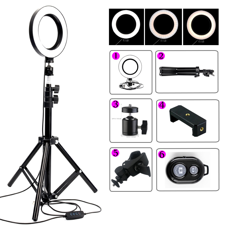 6'' 16Cm Dimmable Led Ring Mild Lamp Telephone Video Lamp With Selfie Tripod Ring Fill Mild For Make-up Youtube Iphone Reside Present