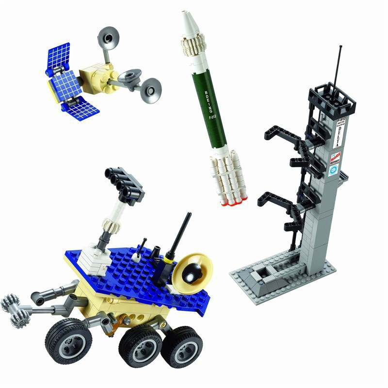 Fun Childrens building blocks toy compatible with Legoes toy rocket launch station spacecraft model intelligence building block