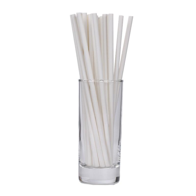 Plain White Paper Straws Solid White Paper Straw  For Wedding White Cake Pop Stick Wedding Supplies,