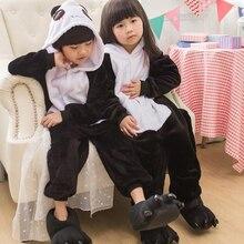Kid Panda Kigurumi Onesies Child Animal Cosplay Costumes Cute Anime Jumpsuit Set Winter Party Black White Cloth With Shoe