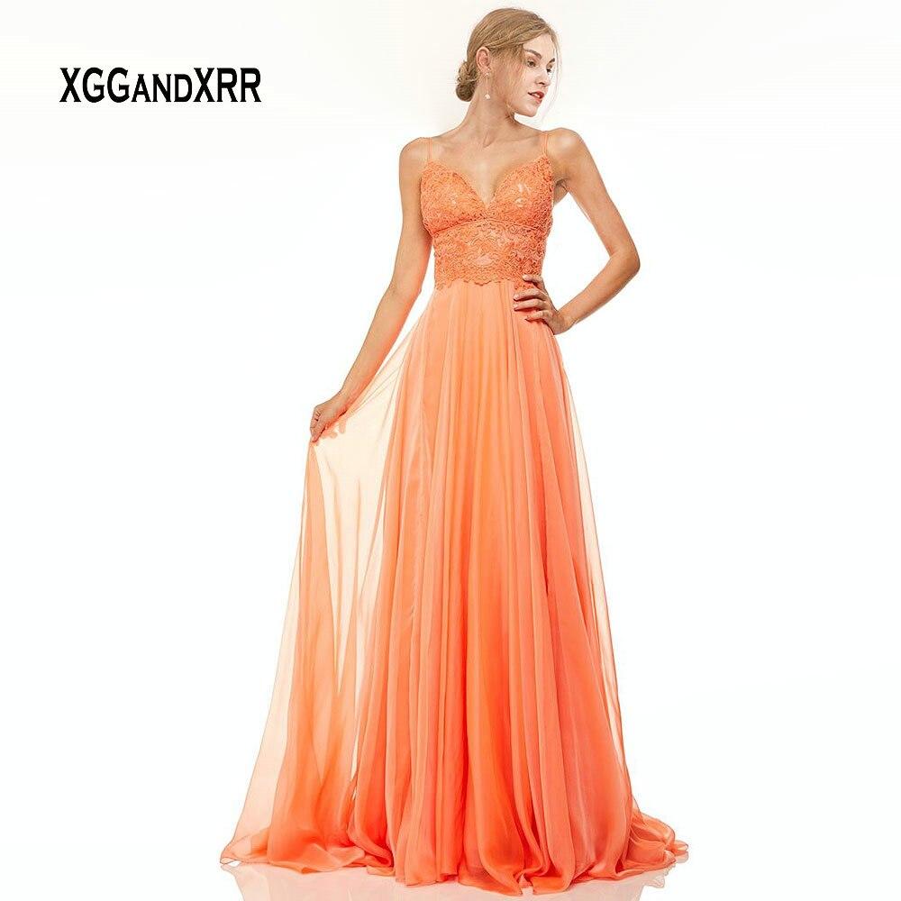Robes de bal Orange 2019 longue robe de soirée formelle chérie Spaghetti dos nu robe en mousseline de soie robe de soirée Gala dentelle grande taille
