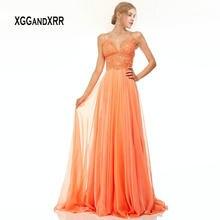 3cbc9cf2ea Naranja vestidos 2019 Formal vestido de fiesta cariño espaguetis sin  respaldo Chiffon vestido de Gala en traje de fiesta de enca.