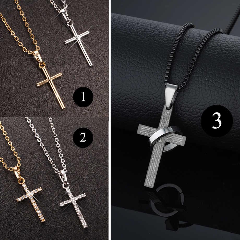 Moda feminina cruz pingentes dropshipping ouro cor preta aço inoxidável jesus cruz pingente colar jóias para homens/mulheres