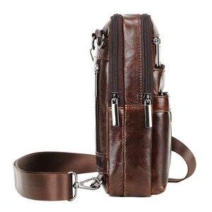 Image 4 - Bandolera de hombro de cuero Vintage para hombre, bolso de viaje, de negocios, negro